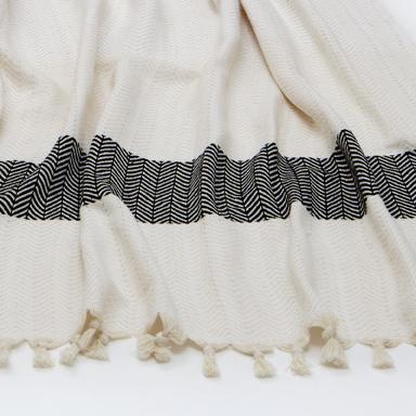 Chevron Throw – Ivory & Black – Close Up
