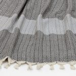 Chevron Towel - Grey & Smoke - Close Up