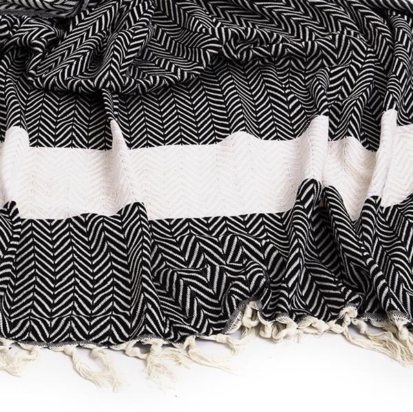 Wonderful Chevron Towel – Black & Ivory – Turkish Murkish OC78